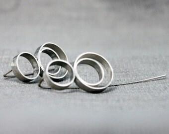 Geometric dangle silver earrings, Minimalist silver earrings, Sterling silver earrings, Handmade earrings, Statement silver earrings
