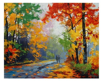 FALL Oil PAINTING Trees painting Autumn Painting artwork Graham gercken