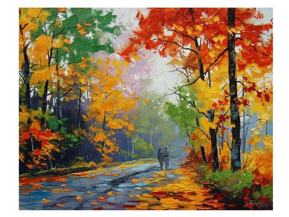 Fall oil painting trees painting autumn painting artwork for Autumn tree painting