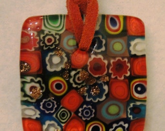 Glass Pendant, Millifiore Style, on Deep Coral Suede Cord