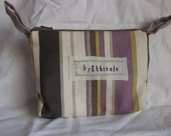 OOAK Small Purse or Make-up bag in recycled fabrics. In Muted Lilacs, Browns, Olive