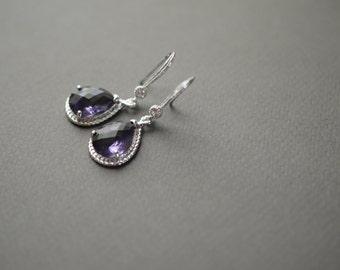 Bridesmaid Silver Earrings Dangle Earrings CZ and Purple Glass Teardrop Earrings