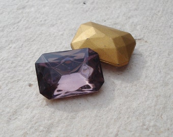 Vintage18x13mm Light  Amethyst Rectangle/Octagon Gold Foiled Pointed Back Faceted Glass Jewels (2 pieces)