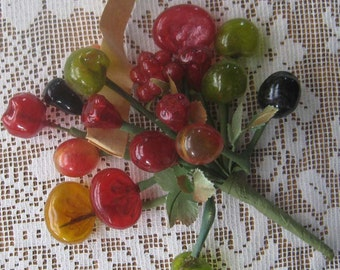 Vintage Millinery Glass Assorted Fruits Muliti Colored And Fabric Leaves Spray Germany  VTG LG2