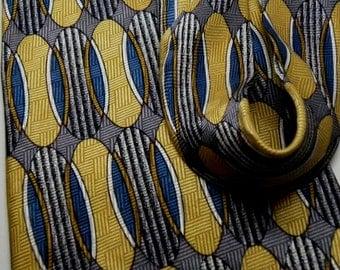 Vintage 1980s Art DECO Retro Style ADOLFO Gray Yellow Gold Blue Silk Jacquard Tie Geometric Elliptical Motif 048