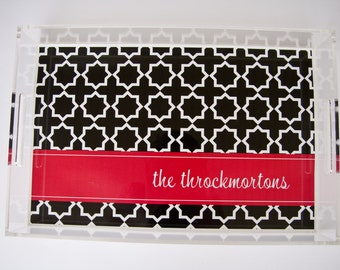 Personalized Lucite Tray Modern Black Geometric