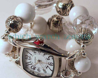 Clearly White.. Chunky White and Clear Acrylic Interchangeable Beaded Watch Band