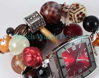 Shabby Chic Give a Hoot.. Super Chunky Brown, Red, Yellow and Black Interchangeable Watch Band, Owl Bell Charm
