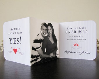 Save The Date For A Romantic Love Birds Wedding (in Cardinal Red, Sepia and Ivory) Set of 30 - The Heath Collection