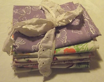 Vintage Sheet Fat Quarter Lot, PURPLE, Flowers, Butterflies, Lilac, Lavender, Destash, Sew, Craft
