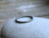 Sterling Silver Twist Ring Twisted Band Rope Stacking Ring Stack Ring Modern Simple Stackable Ring