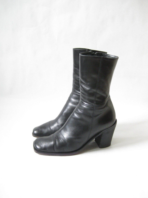 vintage 90s italian chunky heel zip boots size 7 1 2