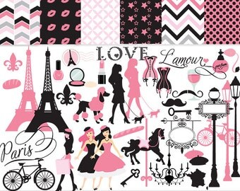Paris clipart - France clipart, Eiffel tower, French, pink, black, love, romantic, Valentine's Day, travel, for personal and commercial use