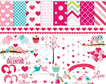 Valentine's day clipart - love clip art, romantic, romance, pink, hearts, amour, amor, valentine, papers, birds, owls, sweet, arrows