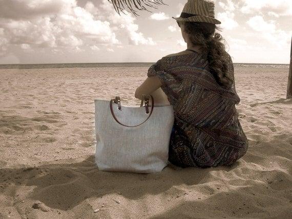 Simple Linen Tote Bag, Natural Beach Bag