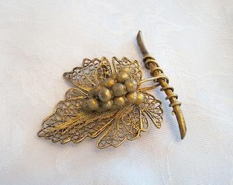 Vintage Copper Brooch Leaf  Grapes Cluster Marked CU