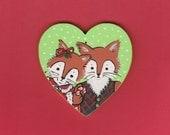 Fox Couple Heart Ornament