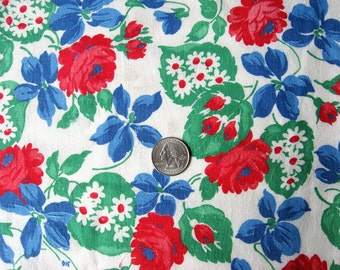 Vintage 1940's Feedsack Cotton  Fabric, Red Roses, Blue Flowers, Big Green Leaves