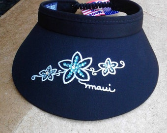 NEW Black 4-inch adjustable visor with three plumerias embellished with aqua Swarovski crystals!
