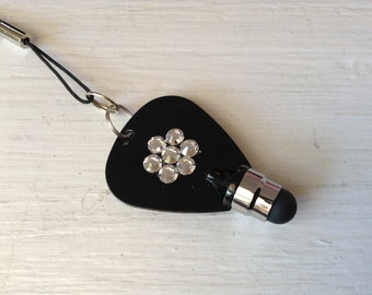 One NEW black stylus decorated with Swarovski crystals