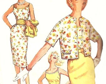 1960s Skirt Pattern Wiggle Top Pattern Simplicity Bolero Jacket Vintage Sewing Women's Misses Size 16 Bust 36 Inches