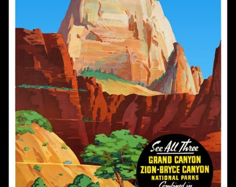 Zion National Park Vintage Travel Ad Refrigerator Magnet - FREE US SHIPPING