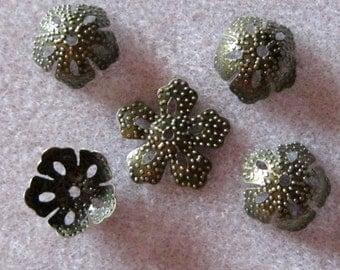 Antique Bronze Five Petal Flower Filigree Bead Caps 14mm 312