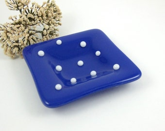 Small Blue and White Polka Dot Dish, Blue Glass Ring Dish, Glass Pinch Dish with Polka Dots