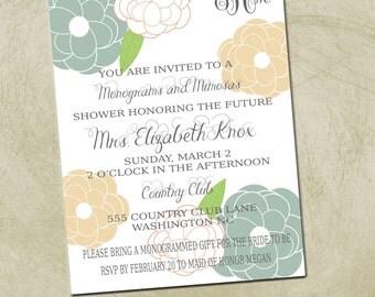 PRINTABLE- Monograms and Mimosas Bridal Invite