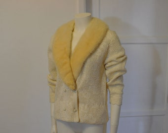 60s sweater / Vintage 1960's Sweater/ Fur Collar Guitar Pattern Knit Cardigan