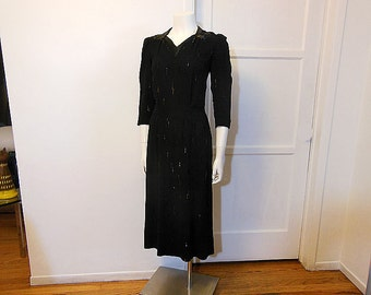 1940s dress / Film Noir Vintage 40's Black Crepe Beaded Dress