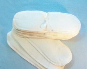 """Long Incontinence Pads with Zorb Core, 10"""" reusable cloth pads, cotton cloth pads, white flannel"""