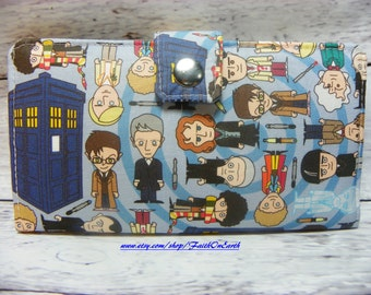 DR Who  Long fandom geek Wallet  BiFold Clutch - All the Doctor Whos and Tardis including Peter C and John H with a ghostly version