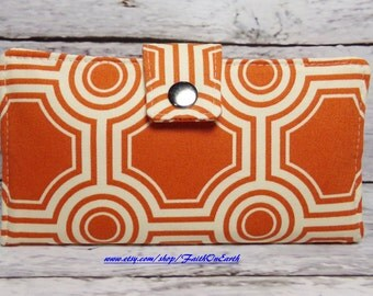 Handmade Long Wallet  BiFold Clutch - Vegan Wallet - Square Tiles in rust or half size unisex wallet
