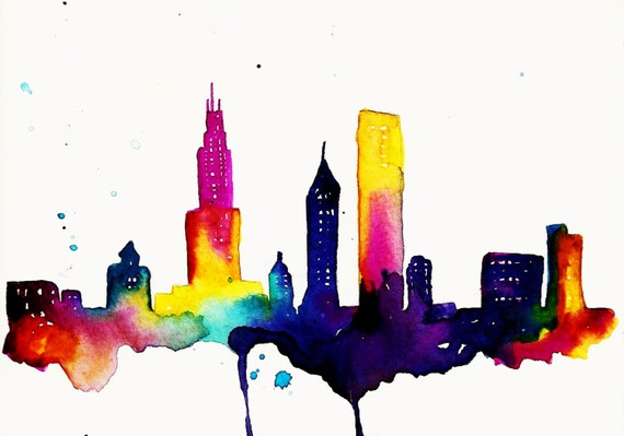 Chicago Print of  Watercolor Illustration