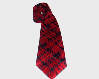 1960s tie / vintage 60s men's tie / Christian Dior / Red and Blue Abstract Tie