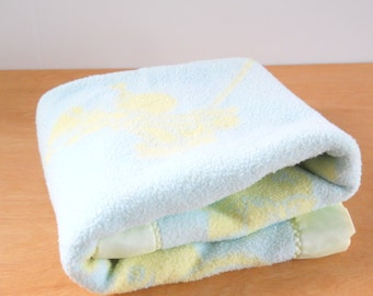 Vintage Flannel Baby Blanket • 1950's Double Flannel Satin Trim • Yellow Blue Bear