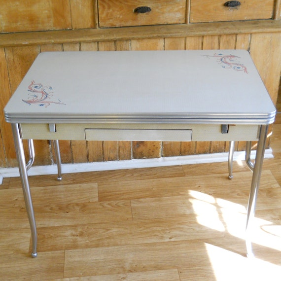 Vintage Chrome Kitchen Table: Vintage Formica And Chrome Kitchen Table Side Slide Leaves