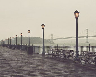 gray decor, San Francisco print, California travel photography, Bay Bridge, Pier 7, iron lamppost, grey, romantic, SF photo, rainy day