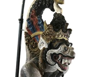 1800s Balinese Demon Lamp, Antique Carved Wood Exotic Bali Bohemian Lighting