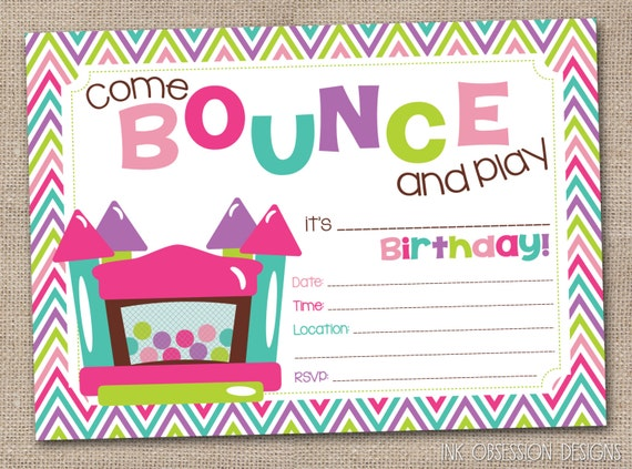 Bounce House Instant Download Birthday By Inkobsessiondesigns