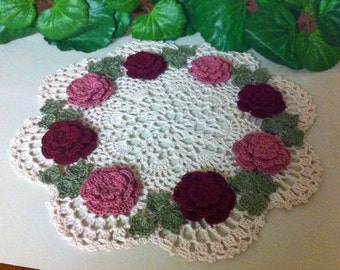 NEW Victorian  roses crochet doily to order choose color