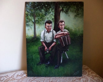 Musicians at Rest, Original Painting, Portrait, Accordion Player, Smoking Man, Party, Picnic, 1950s, Beer Drinker, Men, Friends, Music
