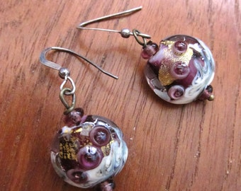Glass Lampwork Earrings - Cranberry Gold Foil, Wearable Art