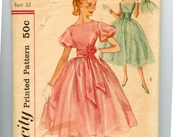 Simplicity 2314 1950s Party Fit & Flare Full Skirted Dress Pattern with Bateau Neck, Sheer Overdress and Sleeve Options, Sash Sz 12 Bust 32