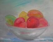 Fruit Bowl Still Life Painting- 11 x 14 original oil painting- Aqua- White- Green- Red Apples-Mango- Lemon-Lime