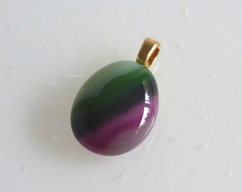 Layered Fused Glass Pendant in Shades of Plum and Green
