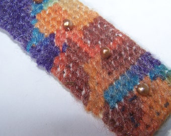 Variegated Yarn bracelet or wrist cuff with dyed brown pearls fabric  lined