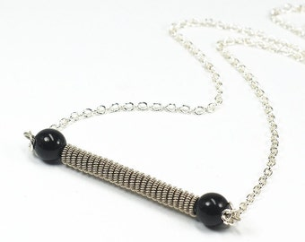 Guitar String Necklace- Upcycled Black Bead & Silver Bar Necklace, Simple Necklace, Guitar String Jewelry, Guitar Player Gift, Music Jewelry