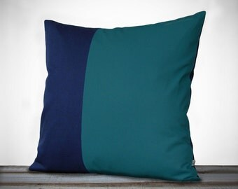Minimal Linen Pillow Cover in Teal and Navy - 18x18 - by JillianReneDecor | Modern Home Decor | Two Tone | Colorblock Pillow